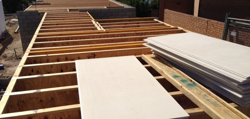 Joists laid and boards prepared for use