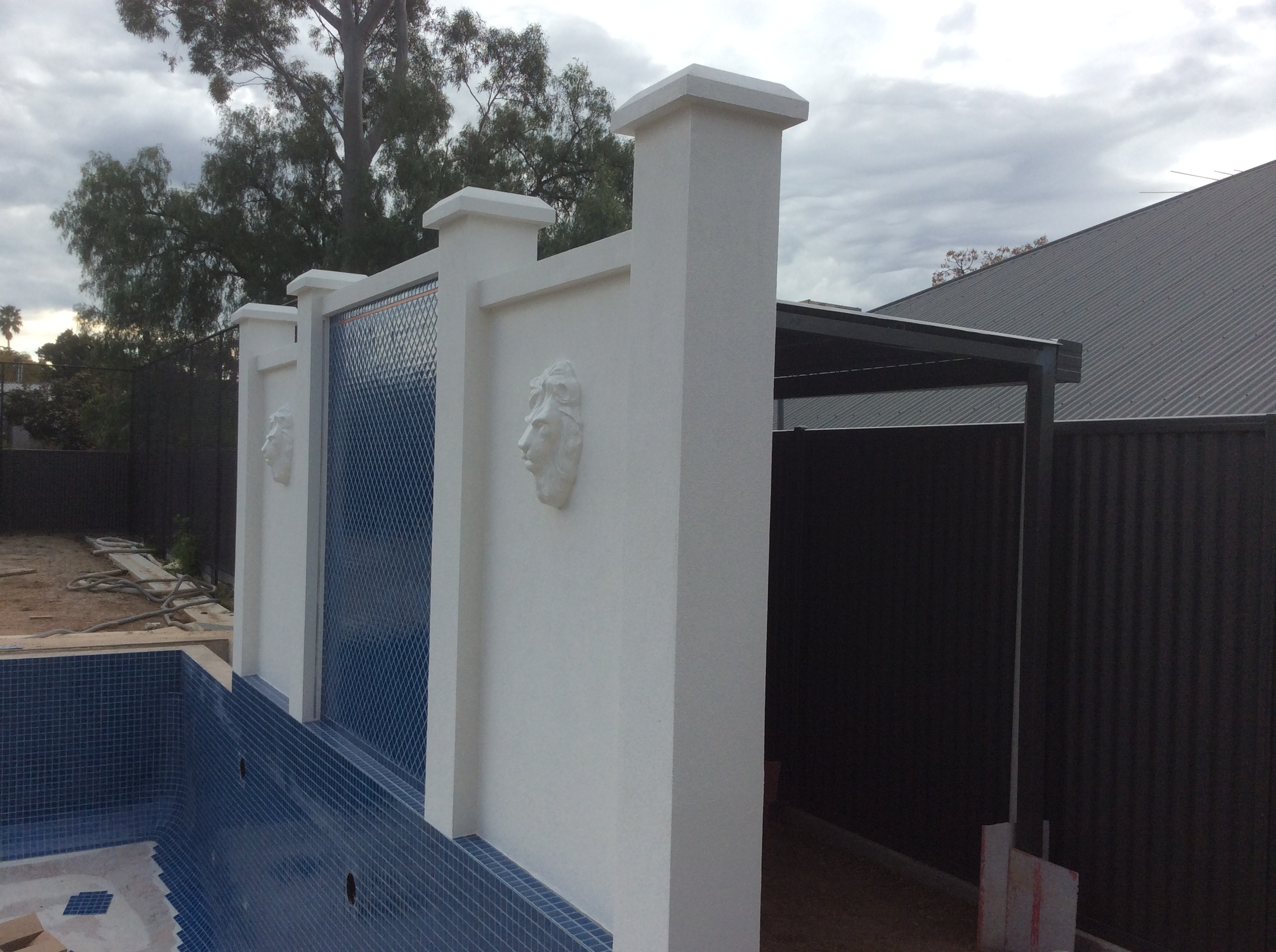 Wall capping and pillar caps provided a great finish